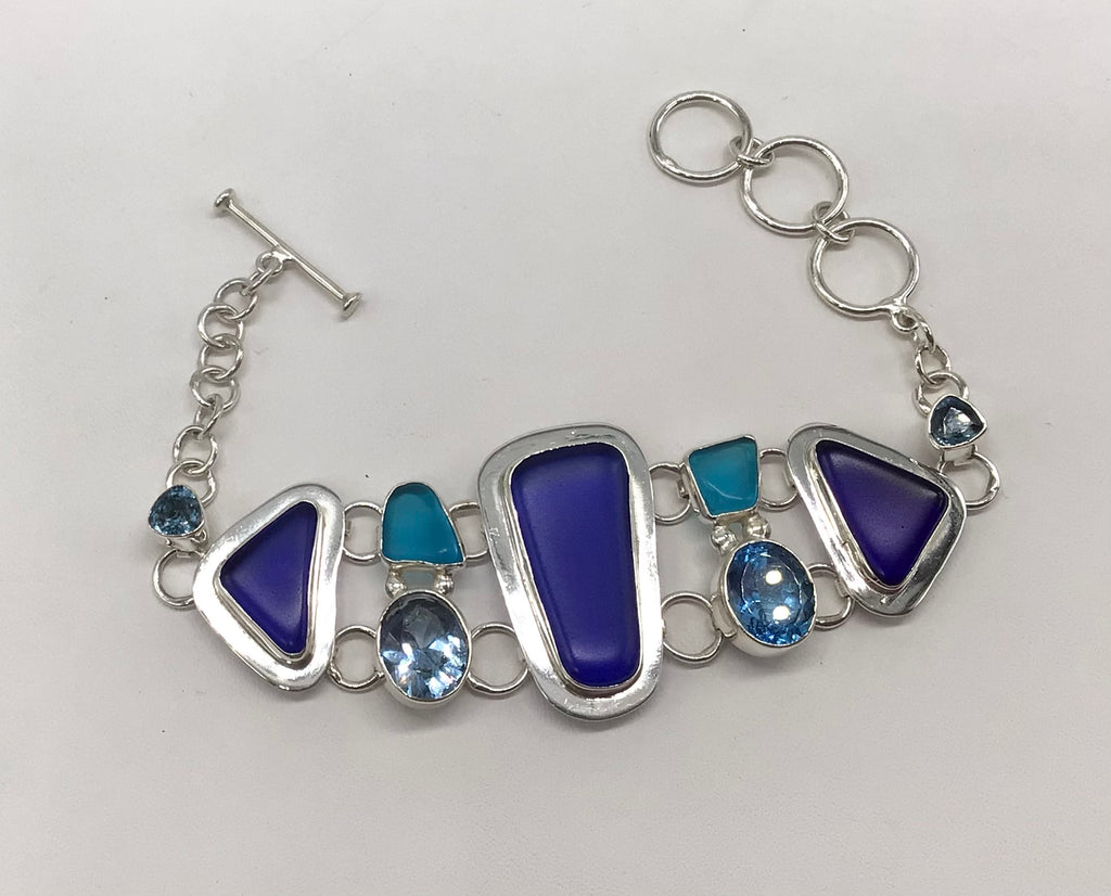 Sterling silver recycled Beach glass and Blue Topaz bracelet