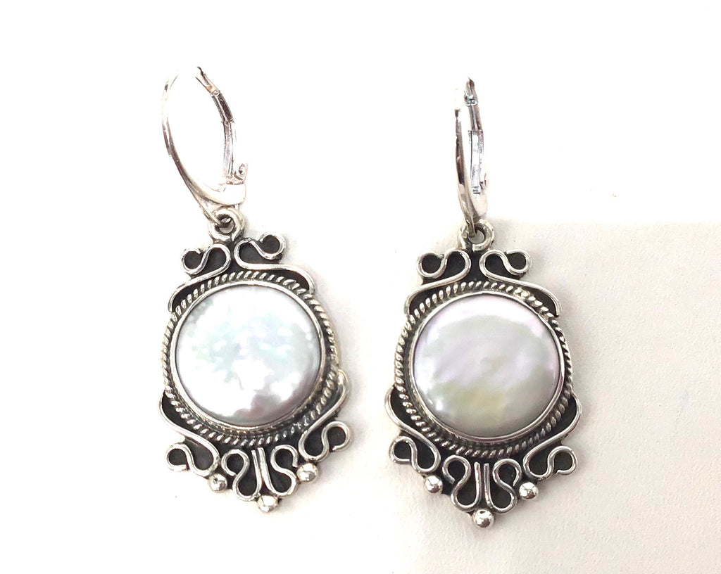 Sterling silver large Coin Pearls earrings