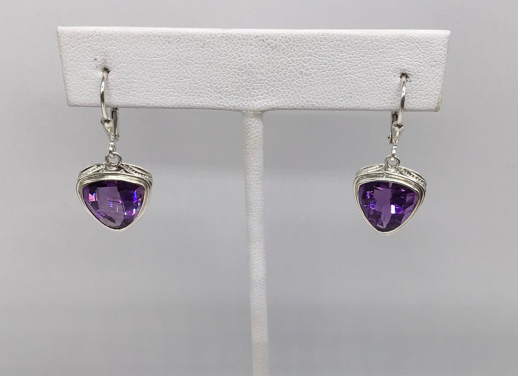 Sterling large triangle shape Amethyst earrings