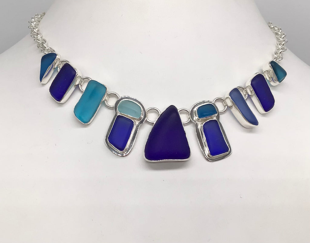 Sterling silver blue tones Recycled Beach glass necklace