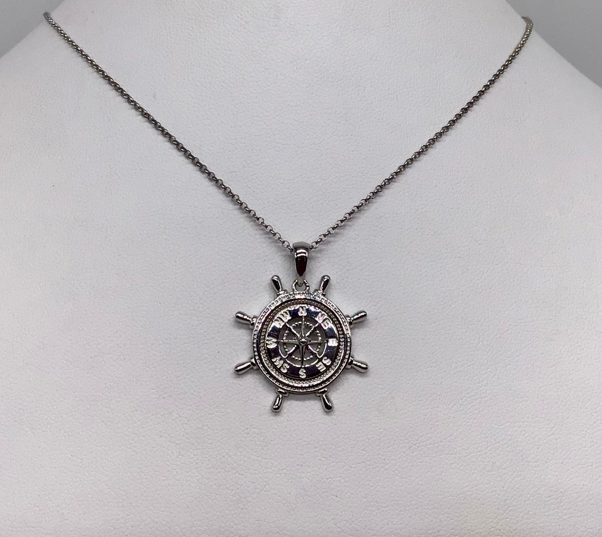 Sterling Compass Rose in a ship's wheel necklace