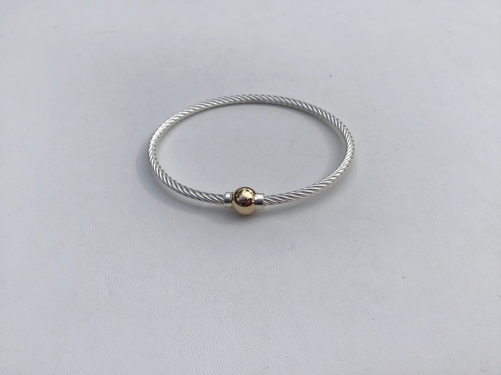 Cape Cod Twist bracelet, sterling and 14 kt. bead
