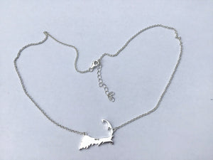 Sterling silver Map of Cape Cod necklace