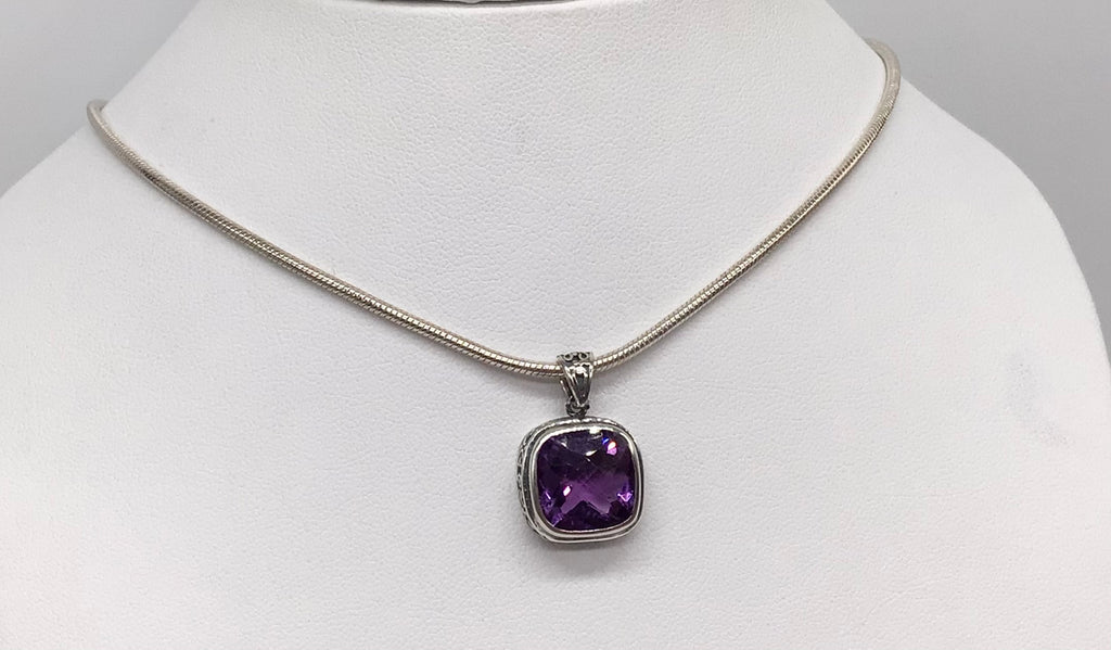 Sterling silver cushion cut Amethyst necklace