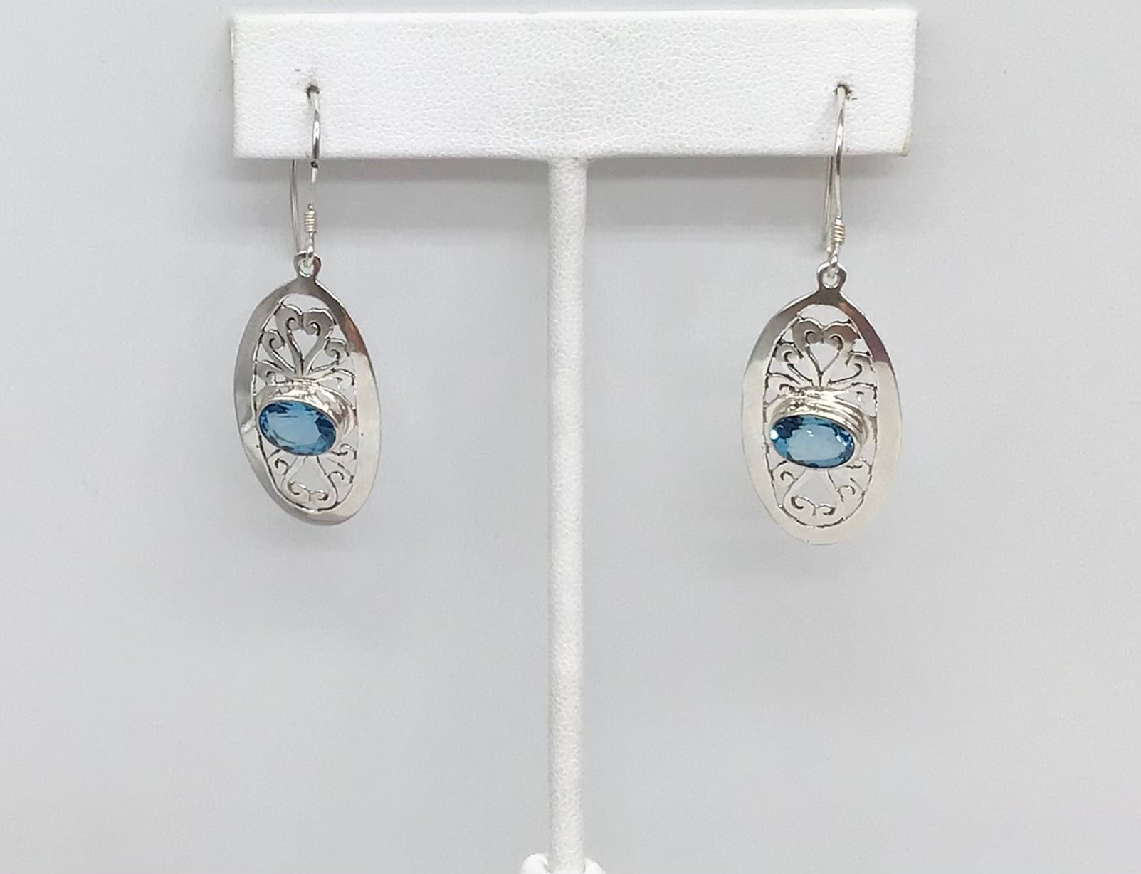 Sterling silver Blue Topaz filigree earrings