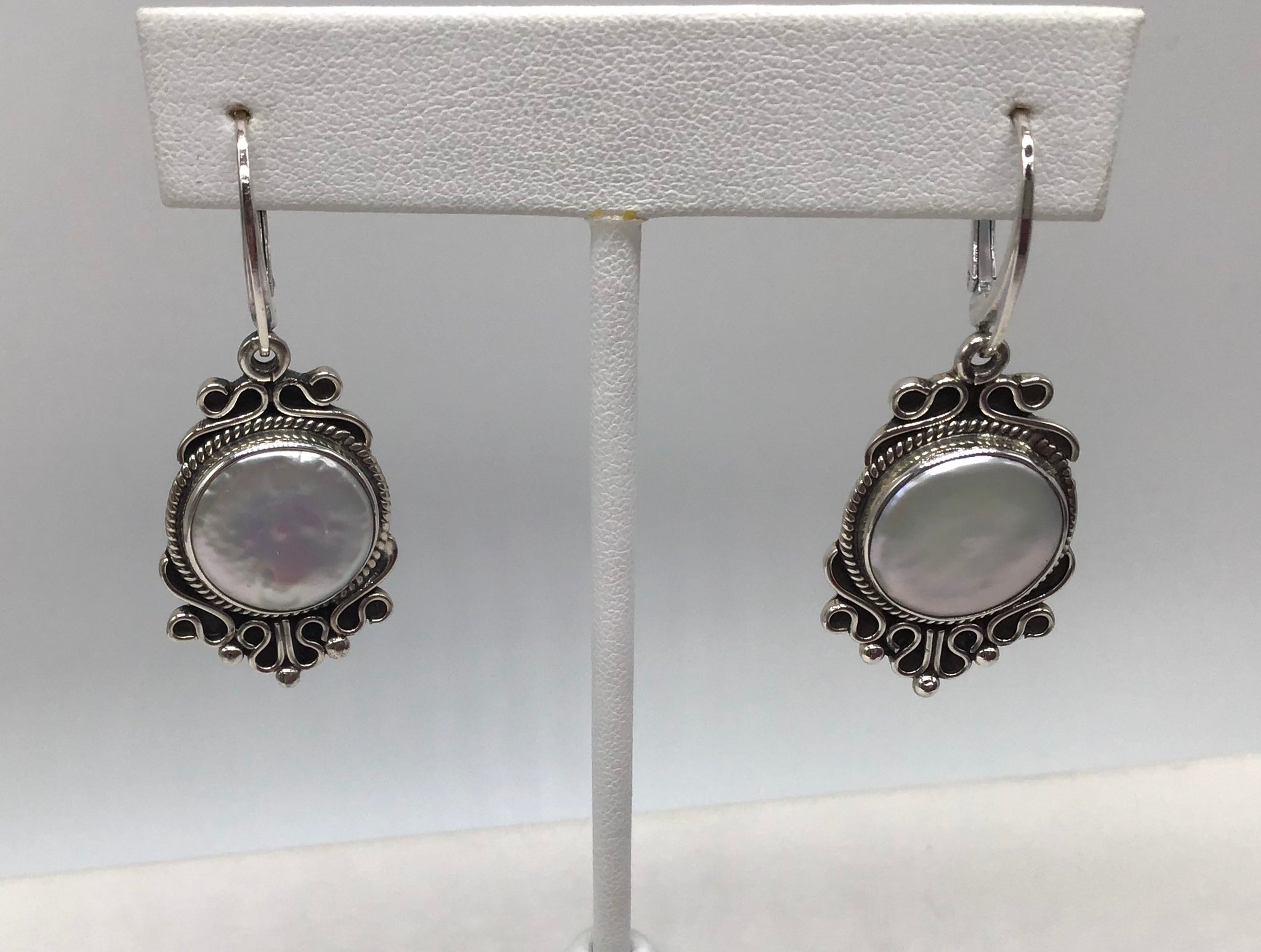 Sterling silver large White Coin Pearls earrings
