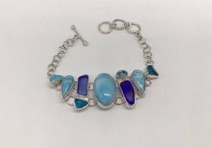 Sterling silver Larimar and Beach Glass bracelet