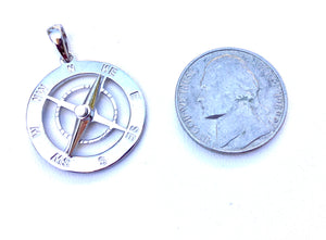 Sterling silver moveable Compass Rose pendant.