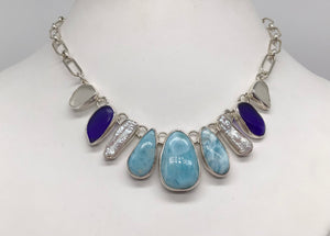 Sterling silver Larimar,Biwa Pearls and Beach Glass necklace.