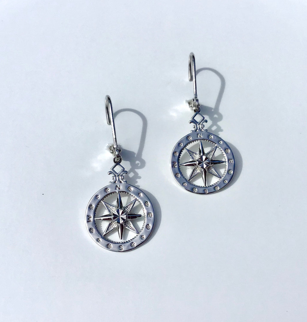 Sterling silver small Compass Rose earrings