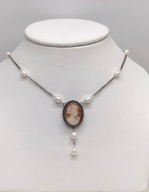 Sterling silver Pearls and Cameo necklace