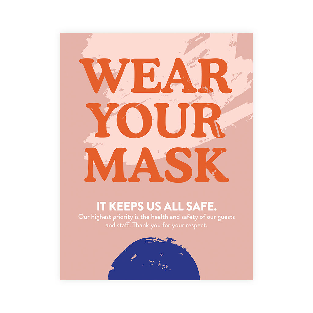Boutique Face Mask Blue Dot Design Poster