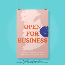Load image into Gallery viewer, Boutique 'Open For Business' Blue Dot Design Poster