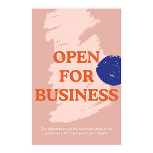 Boutique 'Open For Business' Blue Dot Design Poster