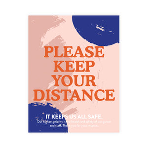 Boutique 'Please Keep Your Distance' Blue Dot Design Poster