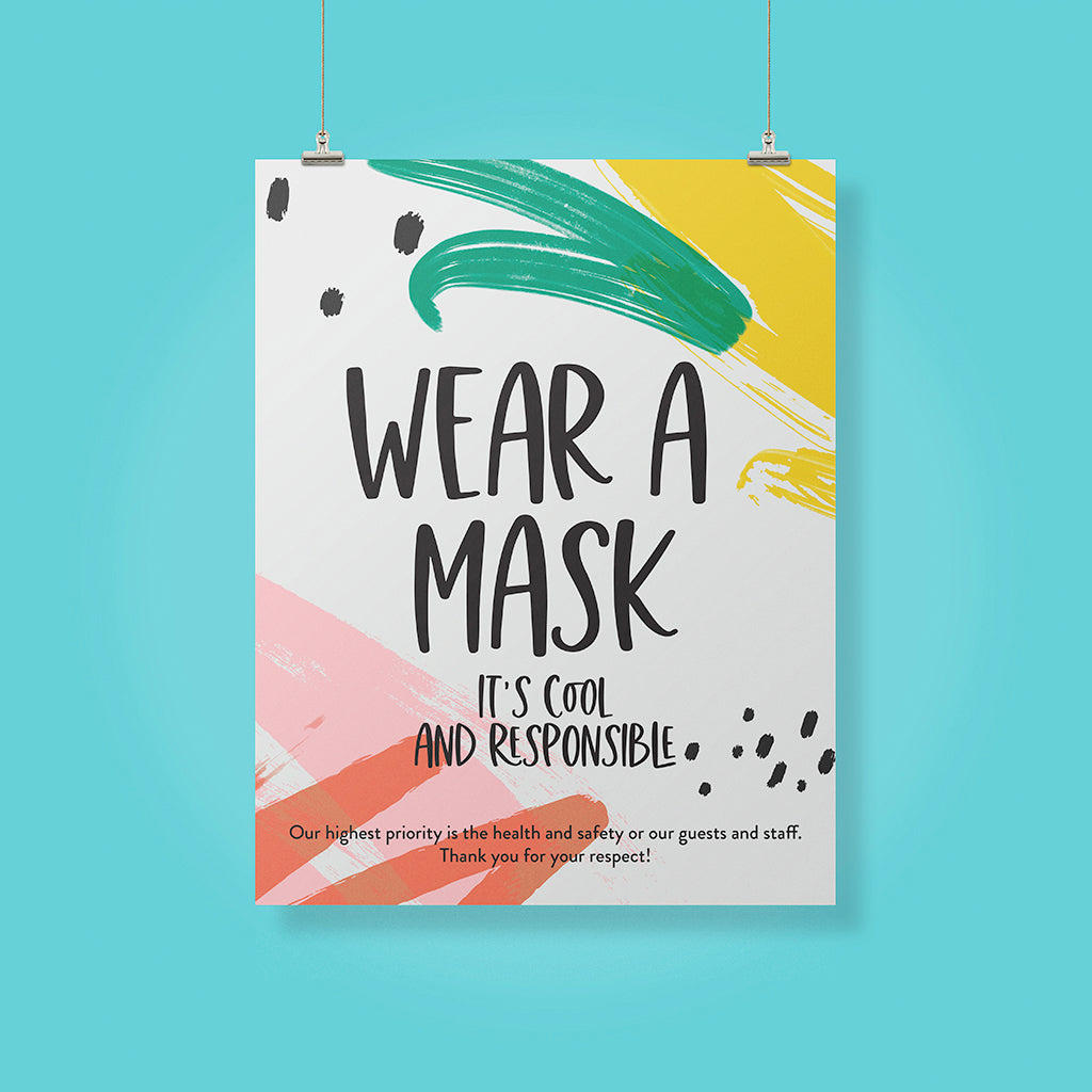 Boutique 'Wear A Mask' Pineapple Design Poster