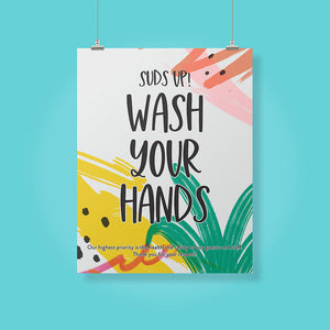 Boutique 'Wash Your Hands' Pineapple Design Poster