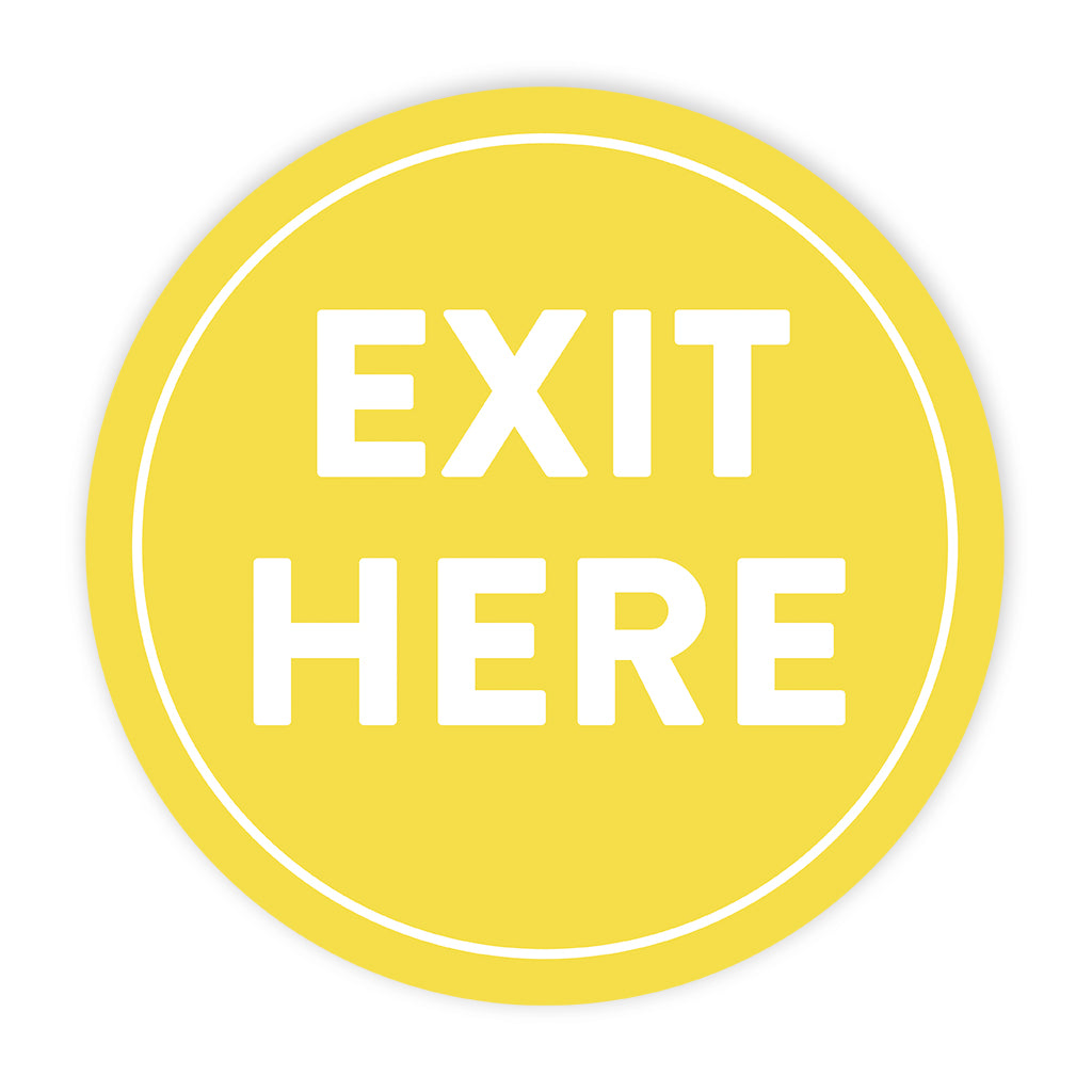 Exit Here' Circle Floor Decals