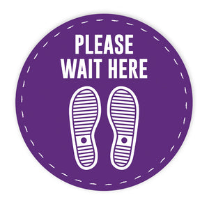 Please Wait Here' Circle Floor Decals