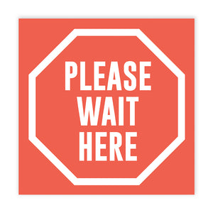 Please Wait Here' Square Floor Decals