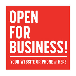 San Diego, San Diego Printing, COVID-19 Signage, Open for Business Sign, California, COVID-19 Signs, COVID signs