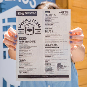 8.5x11 Disposable Menus