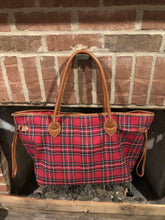Load image into Gallery viewer, Plaid Tote in Navy or Red