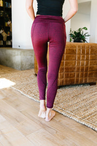 Tadasana Two-Tone Leggings In Burgundy