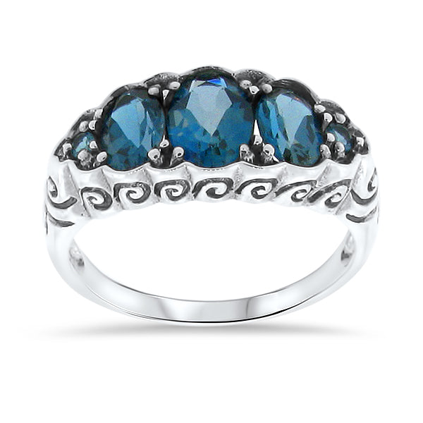 Genuine London Blue Topaz Art Nouveau Style .925 Sterling Silver Ring #30017