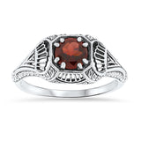Genuine Garnet Antique Filigree Design 925 Sterling Silver Ring  #30018