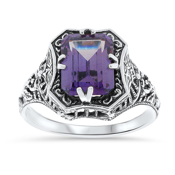 Color Changing Alexandrite Sterling Silver Antique Style Ring, #30019
