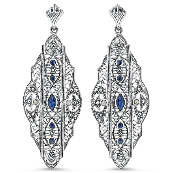 Genuine Sapphire & Freshwater Pearl Antique Style .925 Sterling Silver Filigree Earrings #30047