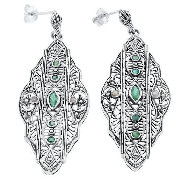 Genuine Emerald & Freshwater Seed Pearl .925 Sterling Silver Antique Style Earrings #30057