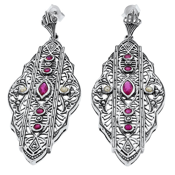 Antique Art Deco Design Genuine Ruby & Pearl 925 Sterling Silver Earrings #30070