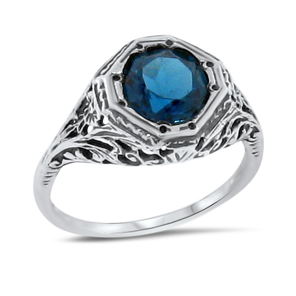 Antique Art Deco Genuine London Blue Topaz 925 Sterling Silver Filigree Ring #30098