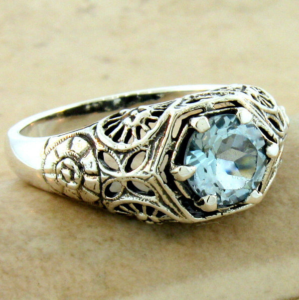 Genuine Sky Blue Topaz 925 Sterling Silver Filigree Antique Style Ring #31113