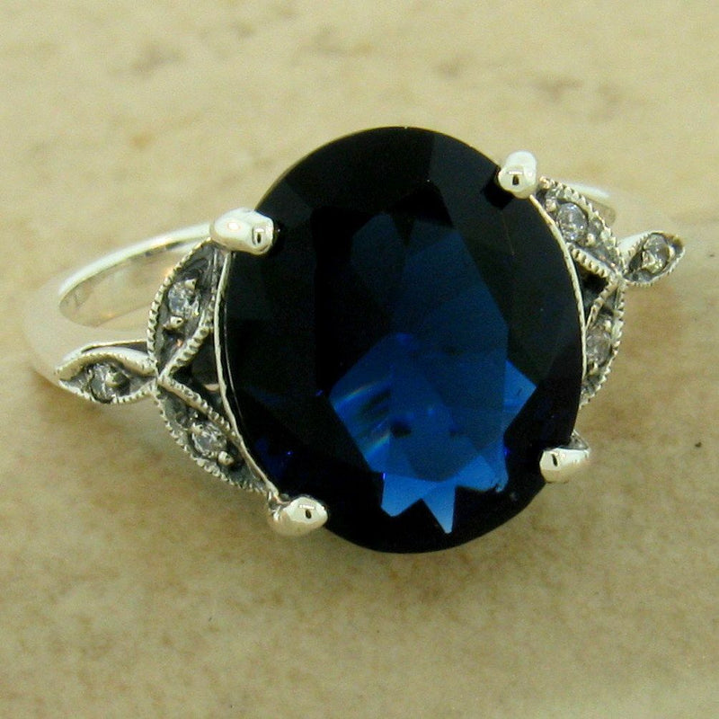 Victorian 925 Sterling Silver 3.5 Ct Royal Blue Sim Sapphire Ring, #31143