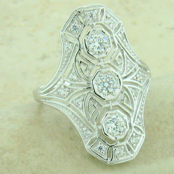 925 Sterling Silver Antique Style Cubic Zirconia Ring  #31149