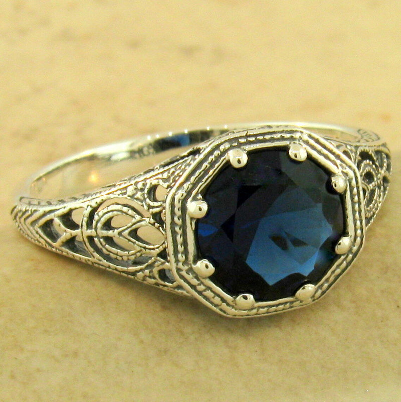 Art Deco Solitaire 925 Sterling Silver Royal Blue Sim Sapphire Ring #31158