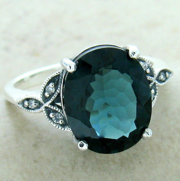 Victorian 925 Silver London Blue 3.8 Ct Sim Topaz Antique Finish Ring #31160