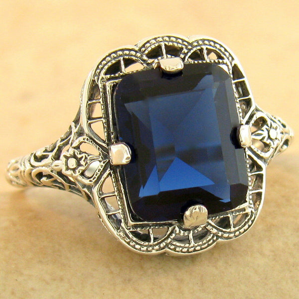 3 Ct Royal Blue Sim Sapphire 925 Sterling Silver Antique Finish , #31167