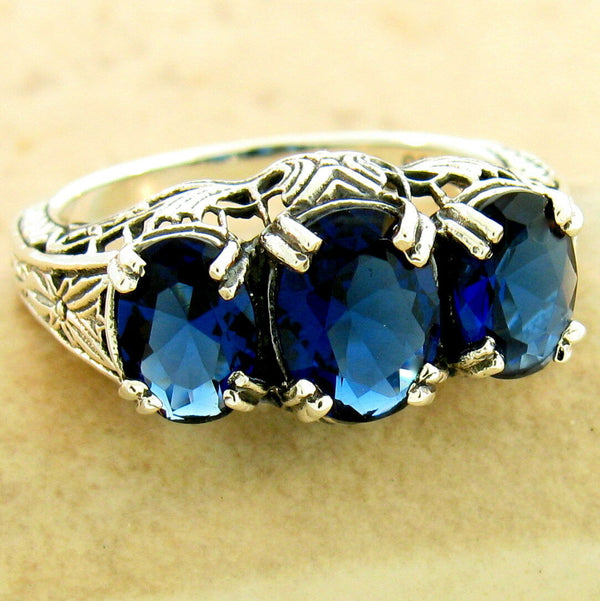 Art Deco 3 Stone 925 Sterling Silver Royal Blue Sim Sapphire Ring #31169