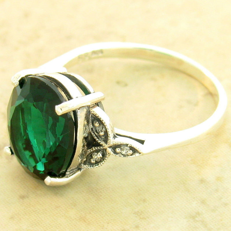 Victorian 4 Ct. Sim Emerald 925 Sterling Silver Antique Style Ring, #31170