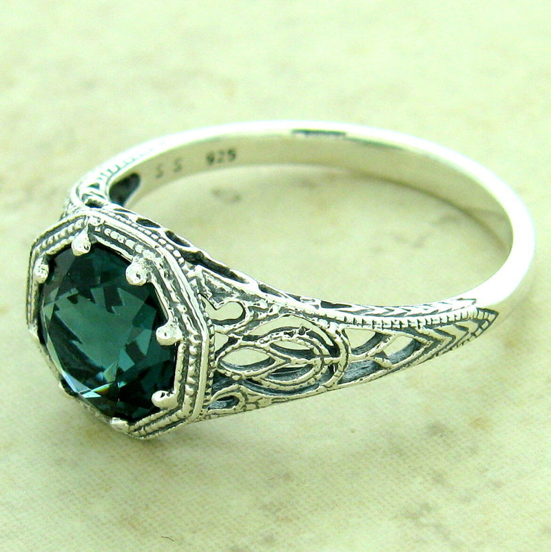 Art Deco Antique Finish 925 Sterling Silver Lond Blue Sim Topaz Ring #31174