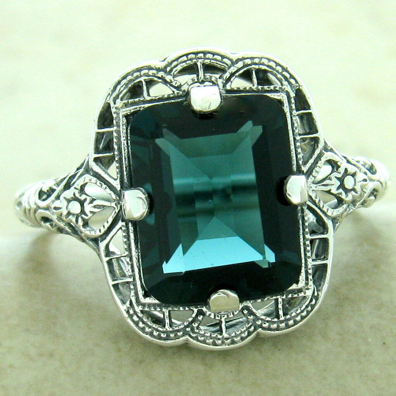 3 Ct London Blue Sim Topaz 925 Silver Art Deco Antique Finish Ring #31175