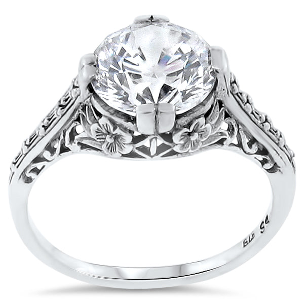 Wedding Engagement .925 Sterling Silver Antique Style CZ Ring, #30123