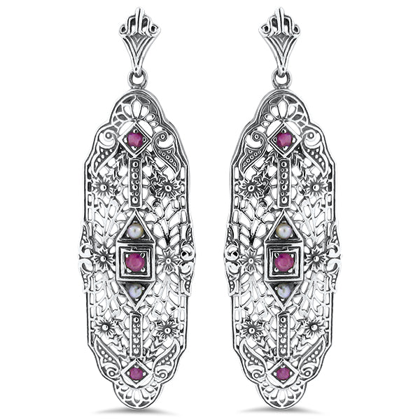Antique Style Genuine Ruby & Pearl Sterling Silver Filigree Earrings #30124
