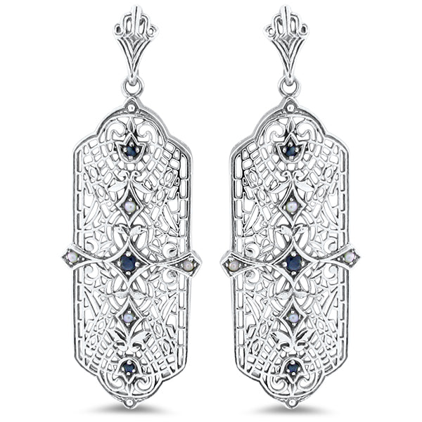 Antique Style Genuine Sapphire & Pearl 925 Sterling Silver Filigree Earrings #30130