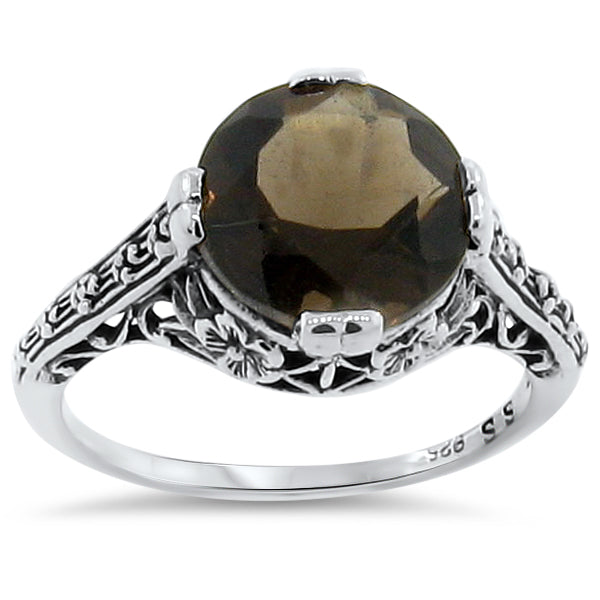 Genuine Smoky Quartz Antique Art Deco Style .925 Sterling Silver Ring, #30150