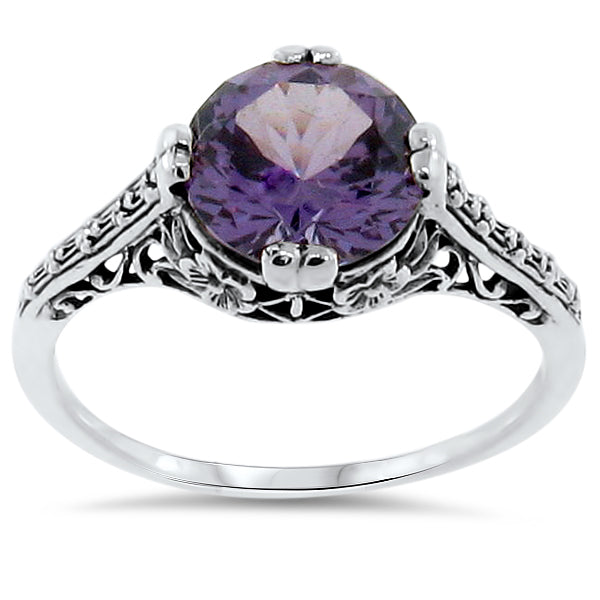 4 Ct Color Changing Alexandrite Antique Style Sterling Silver Ring,#30163